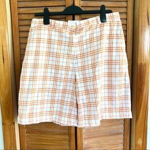 Burberry Golf Shorts in Orange and White Plaid